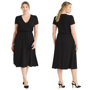 Wayf Dresses - WAYF Plus Size Blouson V-neck Crinkle Dress, AS IS